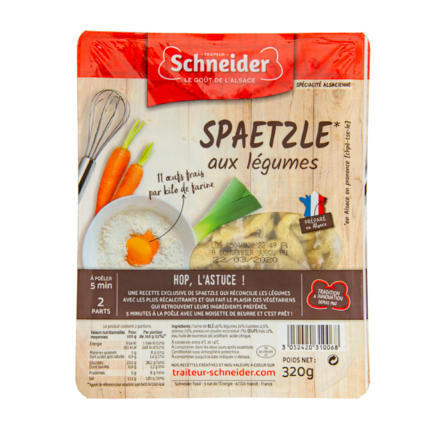 Spaetzle aux légumes : pâte fraîche alsacienne aux oeufs avec une purée de légumes